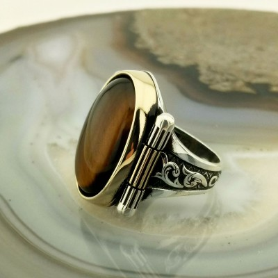925 Ayar Gümüş Kaplan Gözü Taşlı Klasik Model Erkek Yüzük