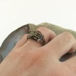 925 Ayar Gümüş Kaplan Gözü Taşlı Osmanlı Tuğrası Erkek Yüzük