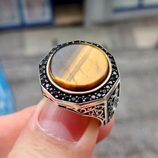 925 Ayar Gümüş Kaplan Gözü Taşlı Sarmaşık Desen İşlemeli Erkek Yüzük