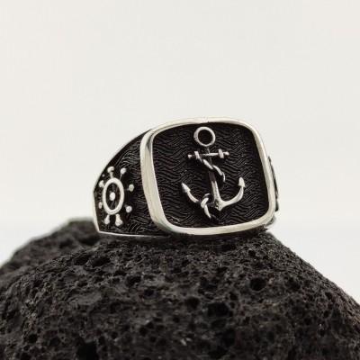 925 Ayar Gümüş Gemi Dümeni Detaylı Çıpa İşlemeli Erkek Yüzük