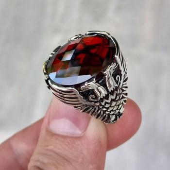 925 Ayar Gümüş Çift Başlı Kartal İşlemeli Kırmızı Taşlı Erkek Yüzük