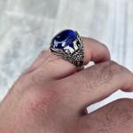 925 Ayar Gümüş Çift Başlı Kartal İşlemeli Mavi Taşlı Erkek Yüzük