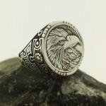 925 Ayar Gümüş Kartal Kafası İşlemeli Liberty Erkek Yüzük