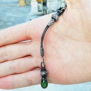 1000 Ayar Kazaz Gümüş Püsküllü Yeşil Sıkma Kehribar Tesbih