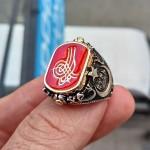 925 Ayar Gümüş Çift Taraflı Osmanlı Tuğralı ve Ay Yıldız İşlemeli Erkek Yüzük