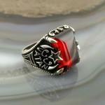 925 Ayar Gümüş Kırmızı Taşlı Ay Yıldız Üzerinde Vatan Yazılı Erkek Yüzük