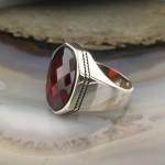 925 Ayar Gümüş Kırmızı Taşlı Sade Erkek Yüzük