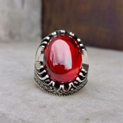 925 Ayar Gümüş Kırmızı Zirkon Taşlı Erkek Yüzük