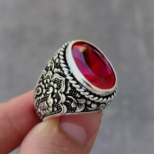 925 Ayar Gümüş Kırmızı Doğal Taşlı Kuş Motifi İşlemeli Erkek Yüzük