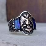 925 Ayar Gümüş Mavi Baget Taşlı Selçuklu Kartalı Erkek Yüzük