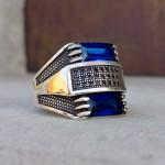925 Ayar Gümüş Mavi Baget Taşlı Erkek Yüzük