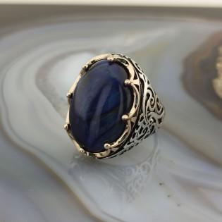 925 Ayar Gümüş Mavi Kaplan Gözü Taşlı Kral Tacı Erkek Yüzük