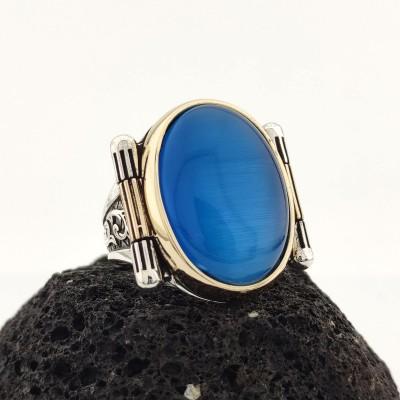 925 Ayar Gümüş Mavi Kedi Gözü Taşlı Erkek Yüzük