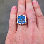925 Ayar Gümüş Mavi Mineli Bozkurt İşlemeli Erkek Yüzük