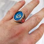 925 Ayar Gümüş Mavi Mineli Elif Vav Erkek Yüzük