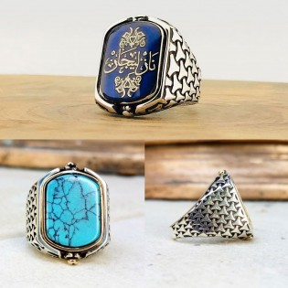 925 Ayar Gümüş Mavi Mineli Firuze Taşlı Kişiye Özel İsim Yazılı Çift Taraflı Erkek Yüzük