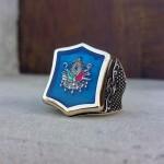 925 Ayar Gümüş Mavi Mineli Osmanlı Armalı Erkek Yüzük