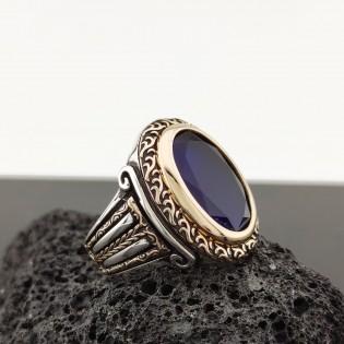 925 Ayar Gümüş Mavi Taşlı Sütun Detaylı Erkek Yüzük