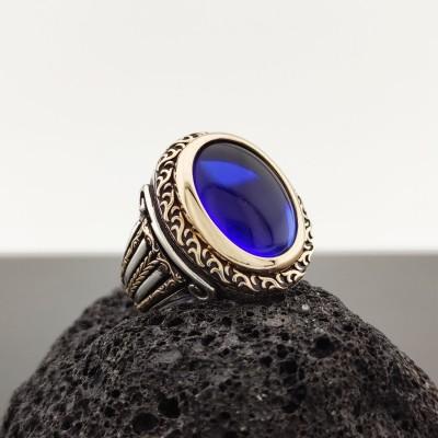 925 Ayar Gümüş Mavi Zirkon Taşlı Sütun Desenli Erkek Yüzük
