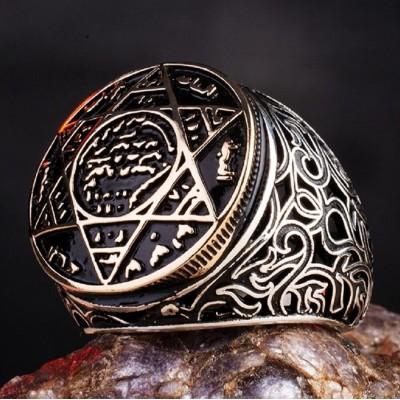 925 Ayar Gümüş Mührü Süleyman Erkek Yüzük