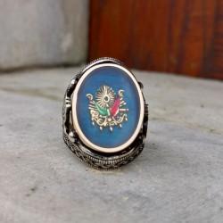 925 Ayar Gümüş Mavi Mineli Osmanlı Devlet Armalı Erkek Yüzük