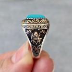 925 Ayar Gümüş Firuze Taşlı Osmanlı Arması Erkek Yüzük