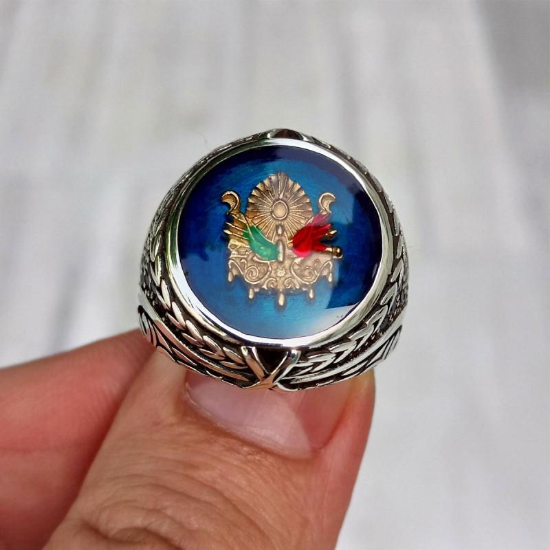 925 Ayar Gümüş Mavi Mineli Osmanlı Devlet Arması Erkek Yüzük