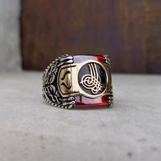 925 Ayar Gümüş Kırmızı Zirkon Taşlı Osmanlı Tuğralı Erkek Yüzük