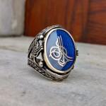 925 Ayar Gümüş Mavi Mineli Osmanlı Tuğralı Erkek Yüzük