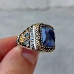 925 Ayar Gümüş Mavi Taşlı Osmanlı Arması Erkek Yüzük