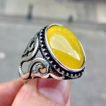 925 Ayar Gümüş Sarı Zirkon Taşlı Erkek Yüzük