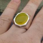 925 Ayar Gümüş Sarı Zirkon Taşlı Sade Erkek Yüzük