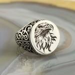 925 Ayar Gümüş Kartal Kafası İşlemeli Erkek Yüzük