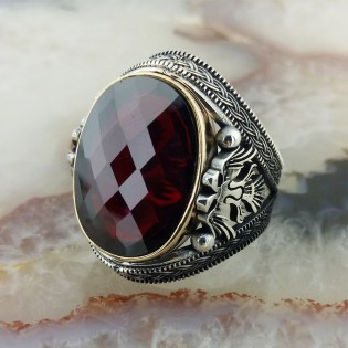 925 Ayar Gümüş Selçuklu Kartal İşlemeli Kırmızı Taşlı Erkek Yüzük