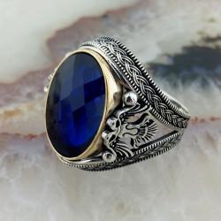 925 Ayar Gümüş Selçuklu Kartal İşlemeli Mavi Taşlı Erkek Yüzük