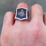 925 Ayar Gümüş Siyah Mineli Osmanlı Tuğralı Erkek Yüzük