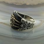925 Ayar Gümüş Siyah Oniks Taşlı Ay Yıldız Erkek Yüzük