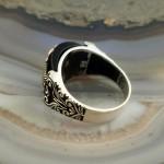 925 Ayar Gümüş Siyah Oniks Taşlı Denizci Çıpası Erkek Yüzük