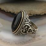 925 Ayar Gümüş Siyah Oniks Taşlı El İşi Deseni İşlemeli Erkek Yüzük