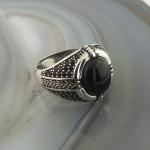 925 Ayar Gümüş Siyah Oniks Taşlı Minimalist Erkek Yüzük