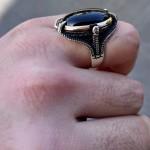 925 Ayar Gümüş Siyah Oniks Taşlı Kartal Pençesi Erkek Yüzük