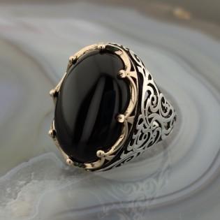 925 Ayar Gümüş Siyah Oniks Taşlı Kral Tacı Erkek Yüzük