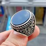 925 Ayar Gümüş Yaprak Desenli Siyah Oniks Taşlı Erkek Yüzük