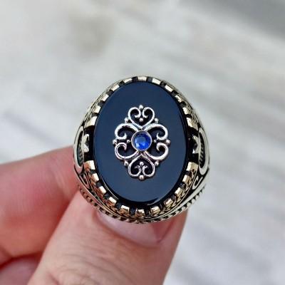 925 Ayar Gümüş Siyah Taşlı Mavi Zirkon Taş İşlemeli Erkek Yüzük
