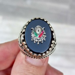 925 Ayar Gümüş Siyah Taşlı Osmanlı Arması İşlemeli Erkek Yüzük