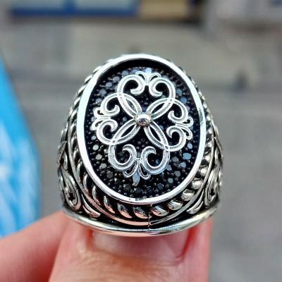 925 Ayar Gümüş Siyah Mikto Taşlı Burgu İşlemeli Erkek Yüzük