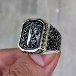 925 Ayar Gümüş Telkari İşlemeli Elif Erkek Yüzük