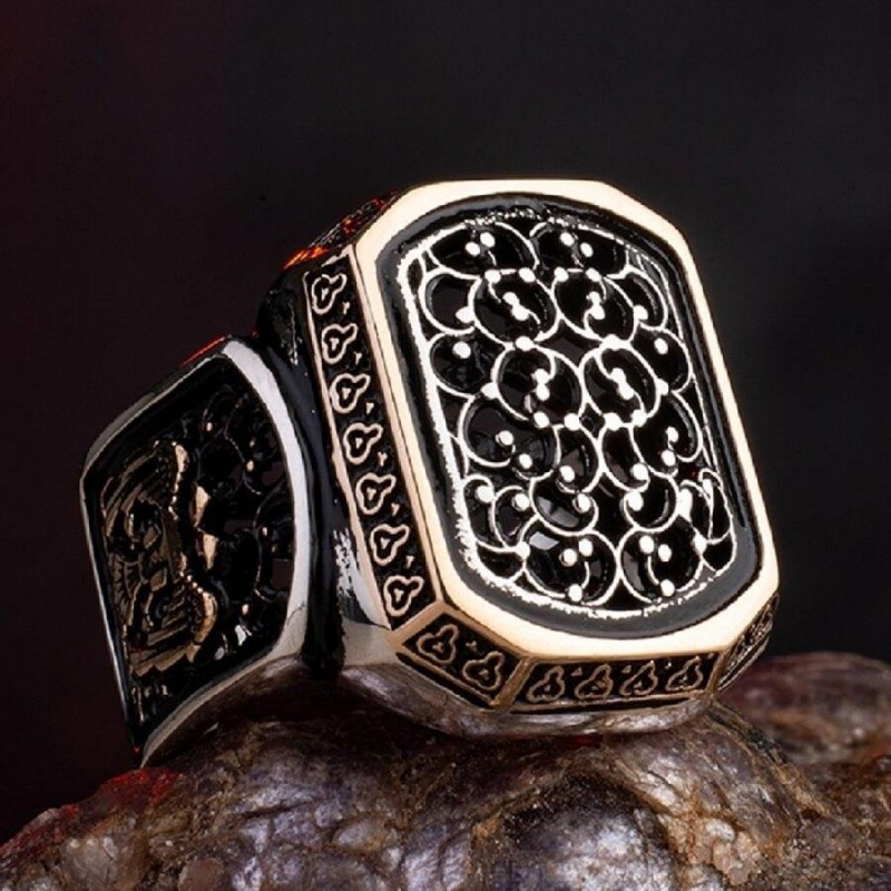 925 Ayar Gümüş Telkari İşlemeli Selçuklu Kartalı Erkek Yüzük