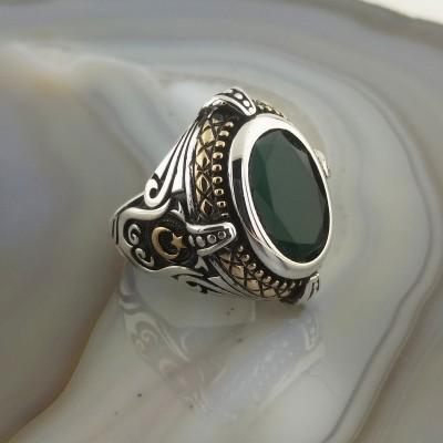 925 Ayar Gümüş Yeşil Taşlı Ay Yıldız İşlemeli Erkek Yüzük