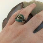 925 Ayar Gümüş Yeşil Akik Taşlı Denizci Çıpası Erkek Yüzük